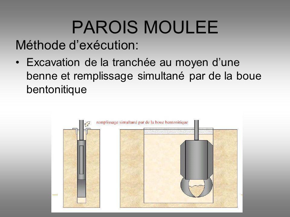 Méthode dexécution: Excavation de la tranchée au moyen dune benne et remplissage simultané par de la boue bentonitique PAROIS MOULEE