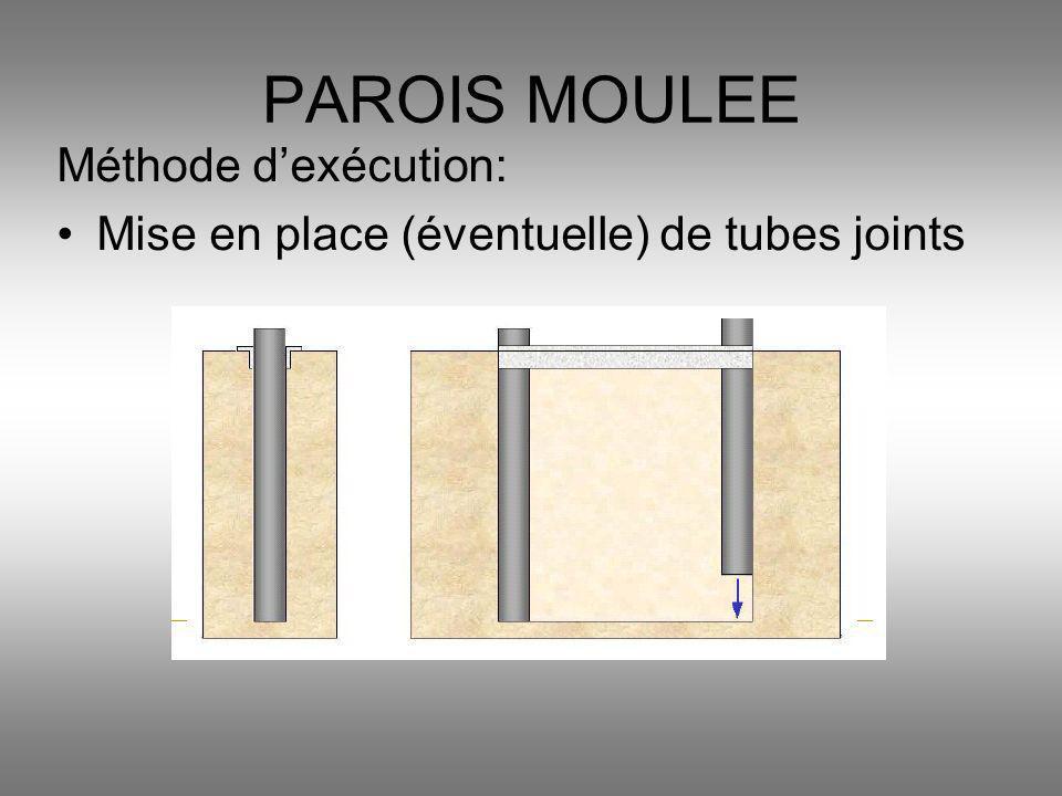 Méthode dexécution: Mise en place (éventuelle) de tubes joints PAROIS MOULEE