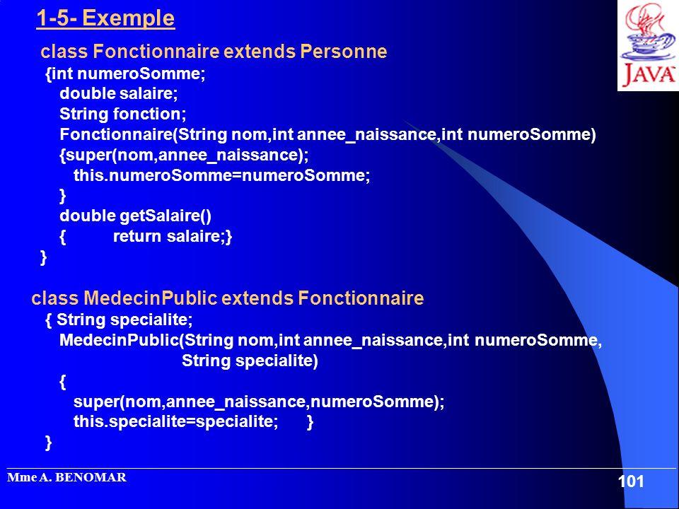 _____________________________________________________________________________________________________ Mme A. BENOMAR 101 1-5- Exemple class Fonctionna