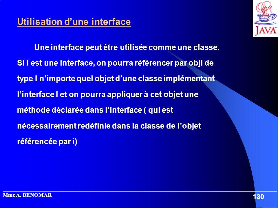 _____________________________________________________________________________________________________ Mme A. BENOMAR 130 Utilisation dune interface Un