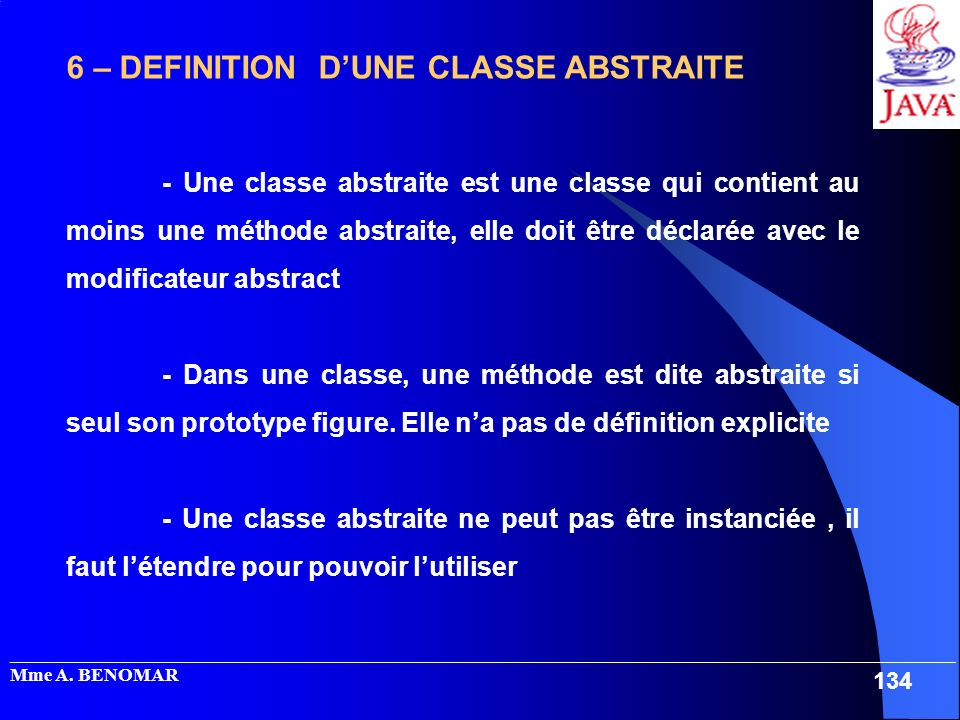 _____________________________________________________________________________________________________ Mme A. BENOMAR 134 6 – DEFINITION DUNE CLASSE AB