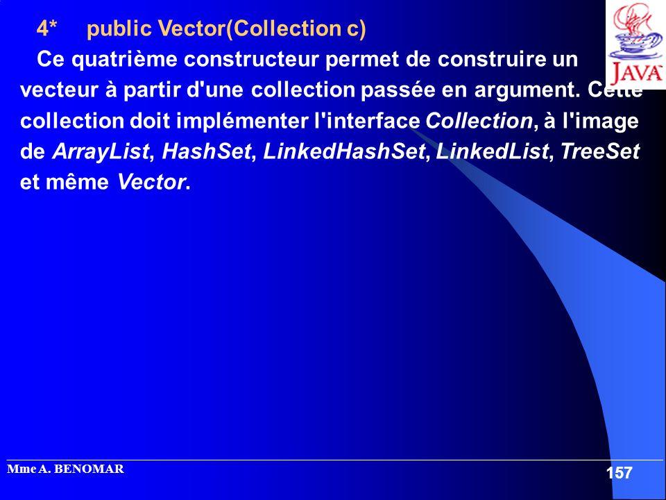 _____________________________________________________________________________________________________ Mme A. BENOMAR 157 4* public Vector(Collection c