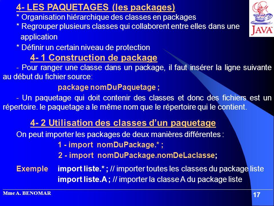 _____________________________________________________________________________________________________ Mme A. BENOMAR 17 4- LES PAQUETAGES (les package