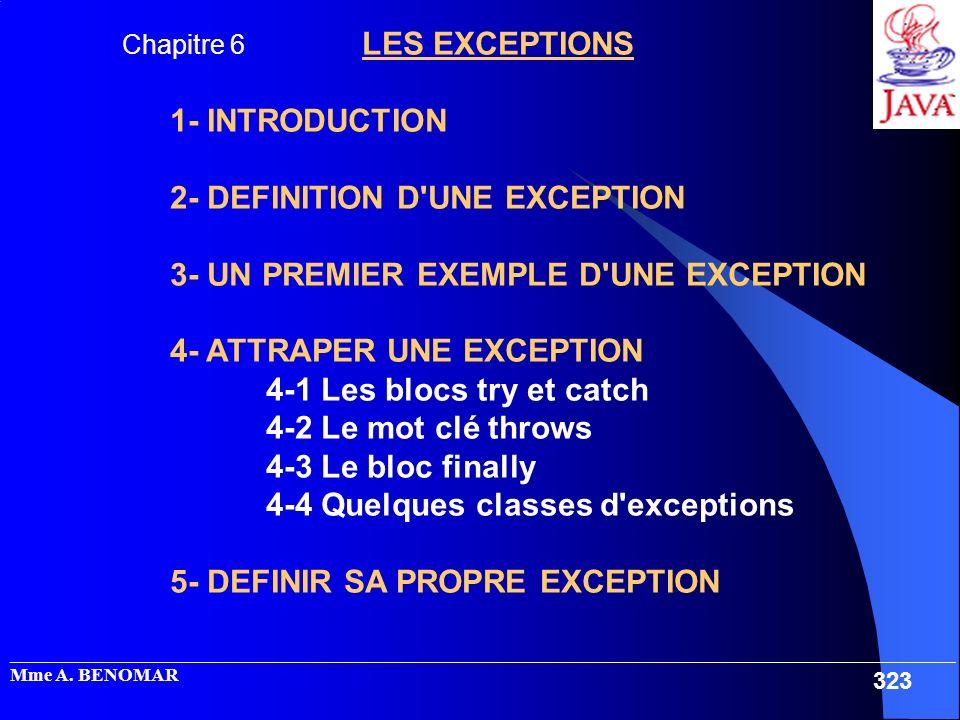 _____________________________________________________________________________________________________ Mme A. BENOMAR 323 Chapitre 6 LES EXCEPTIONS 1-
