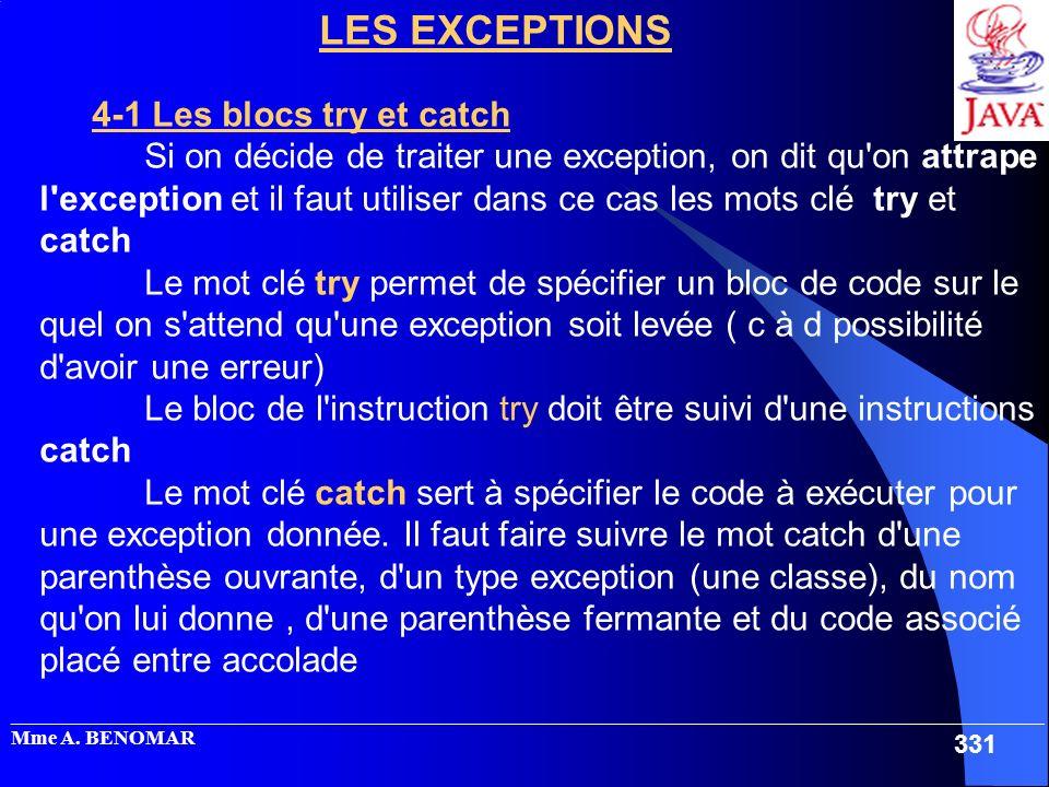 _____________________________________________________________________________________________________ Mme A. BENOMAR 331 LES EXCEPTIONS 4-1 Les blocs