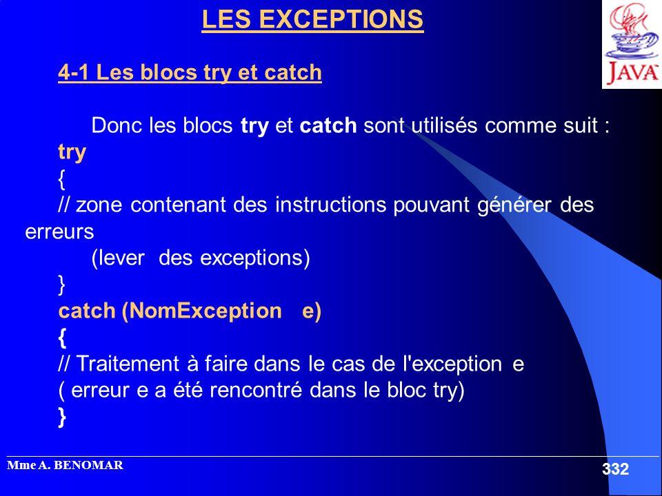 _____________________________________________________________________________________________________ Mme A. BENOMAR 332 LES EXCEPTIONS 4-1 Les blocs