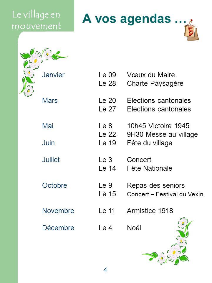 4 A vos agendas … Le village en mouvement Janvier Le 09Vœux du Maire Le 28Charte Paysagère MarsLe 20Elections cantonales Le 27Elections cantonales Mai