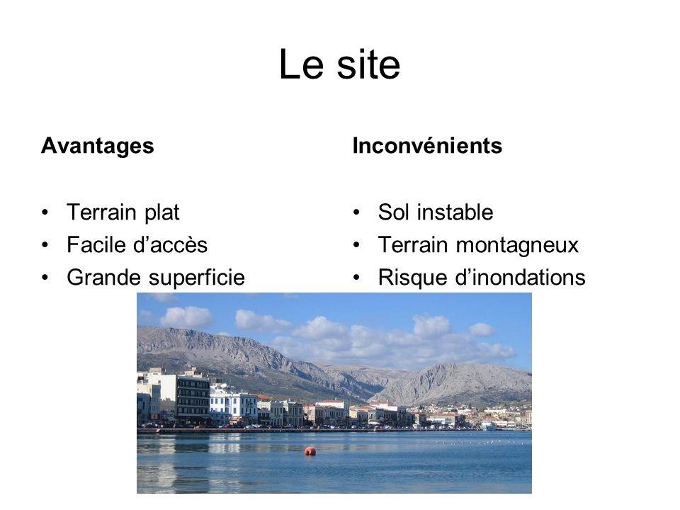 Le site Avantages Terrain plat Facile daccès Grande superficie Inconvénients Sol instable Terrain montagneux Risque dinondations