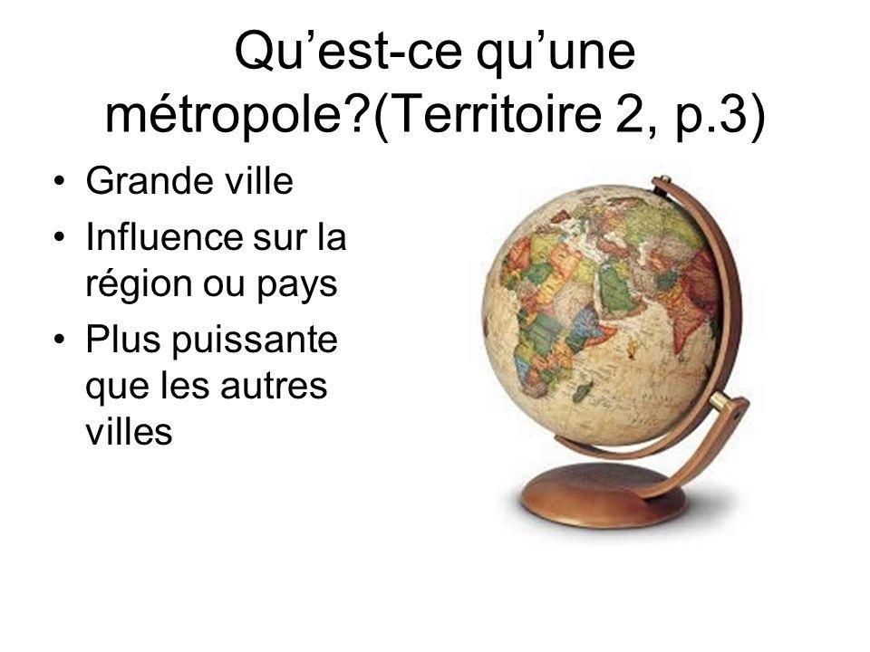 Quest-ce quune métropole?(Territoire 2, p.3) Grande ville Influence sur la région ou pays Plus puissante que les autres villes