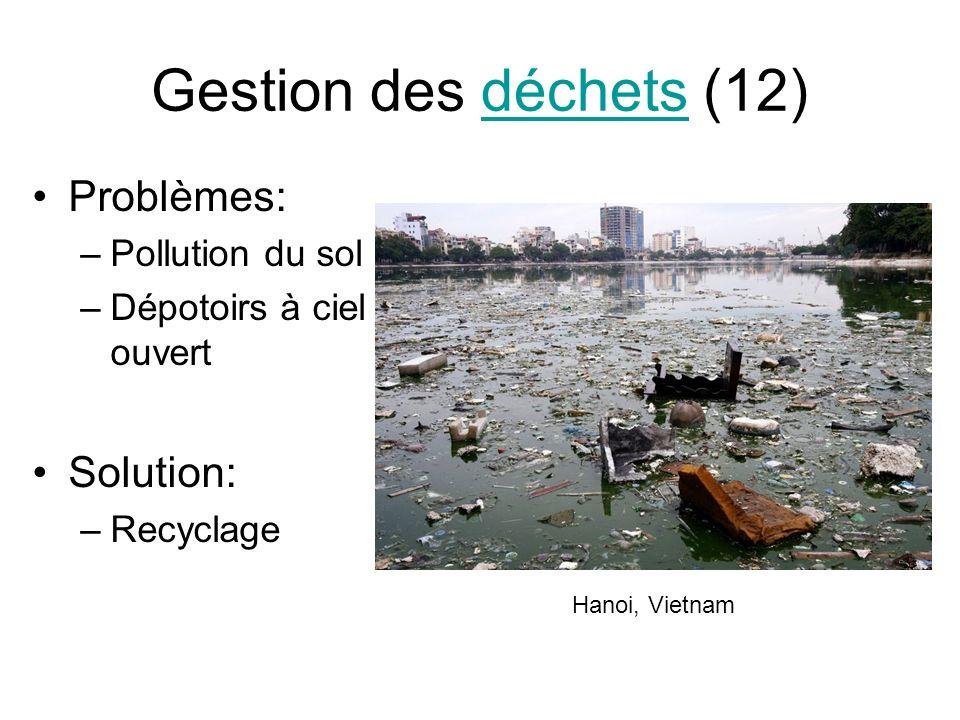 Gestion des déchets (12)déchets Problèmes: –Pollution du sol –Dépotoirs à ciel ouvert Solution: –Recyclage Hanoi, Vietnam