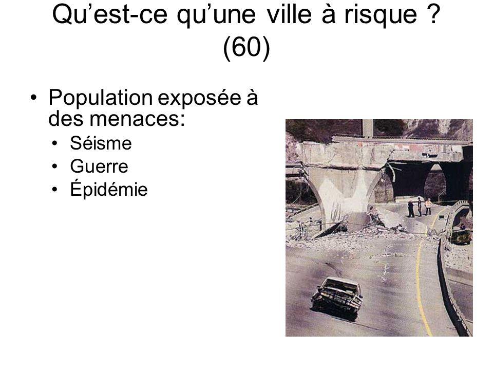 Quest-ce quune ville à risque ? (60) Population exposée à des menaces: Séisme Guerre Épidémie