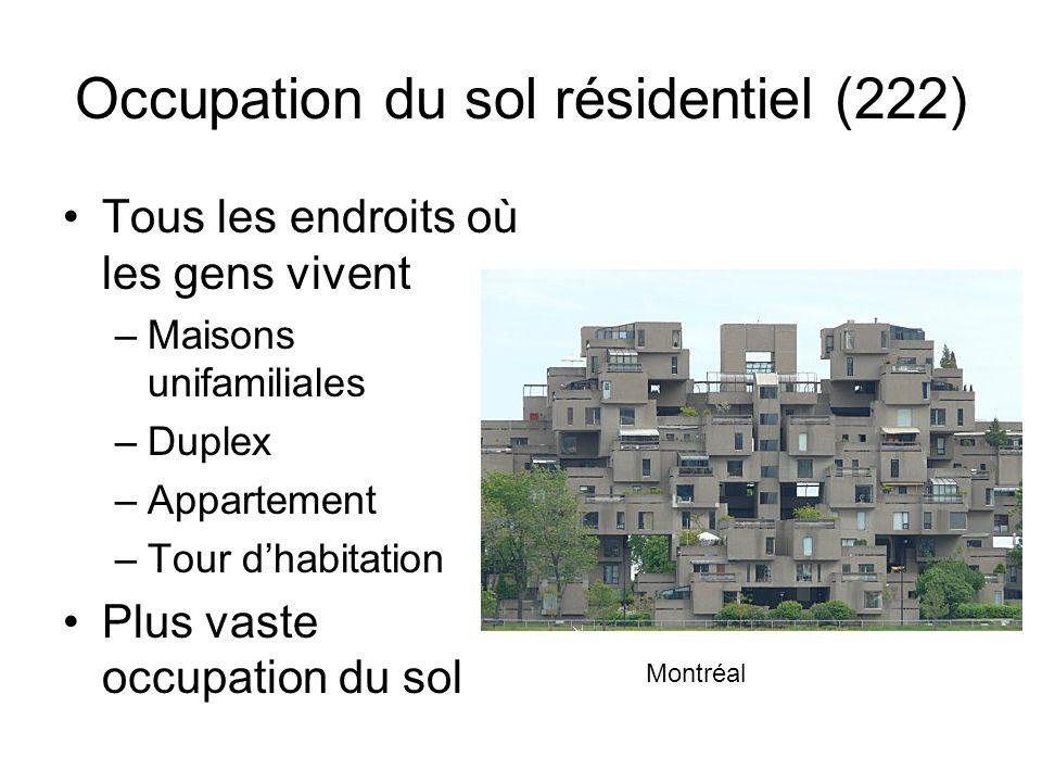 Occupation du sol résidentiel (222) Tous les endroits où les gens vivent –Maisons unifamiliales –Duplex –Appartement –Tour dhabitation Plus vaste occu