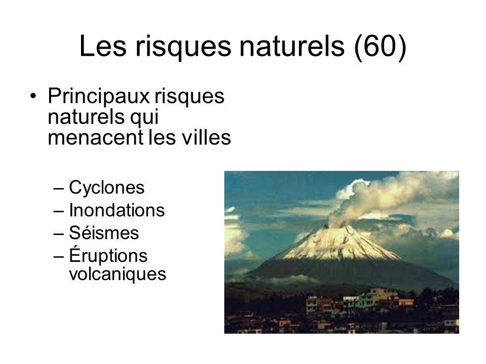 Les risques naturels (60) Principaux risques naturels qui menacent les villes –Cyclones –Inondations –Séismes –Éruptions volcaniques