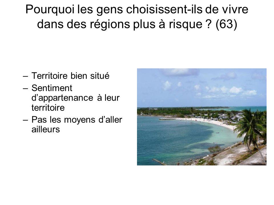 Pourquoi les gens choisissent-ils de vivre dans des régions plus à risque ? (63) –Territoire bien situé –Sentiment dappartenance à leur territoire –Pa
