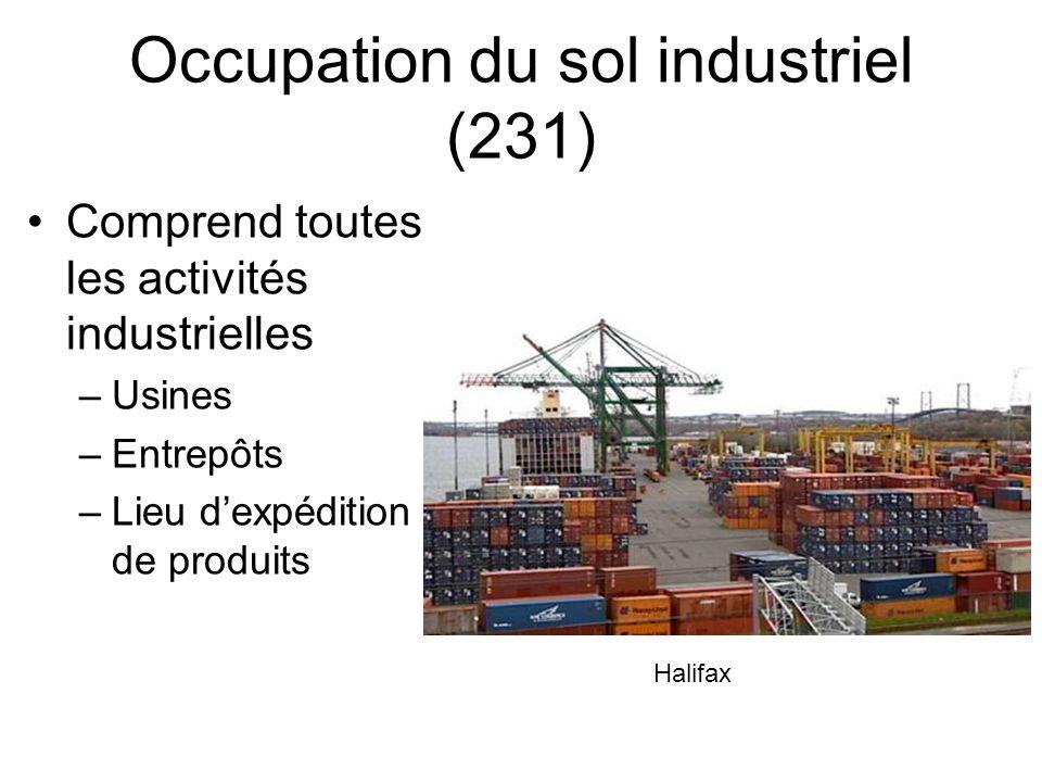 Occupation du sol industriel (231) Comprend toutes les activités industrielles –Usines –Entrepôts –Lieu dexpédition de produits Halifax