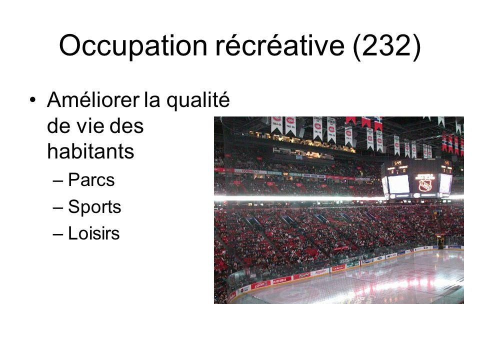 Occupation récréative (232) Améliorer la qualité de vie des habitants –Parcs –Sports –Loisirs