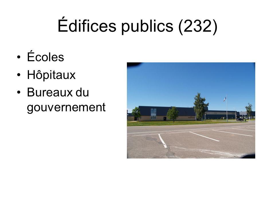 Édifices publics (232) Écoles Hôpitaux Bureaux du gouvernement