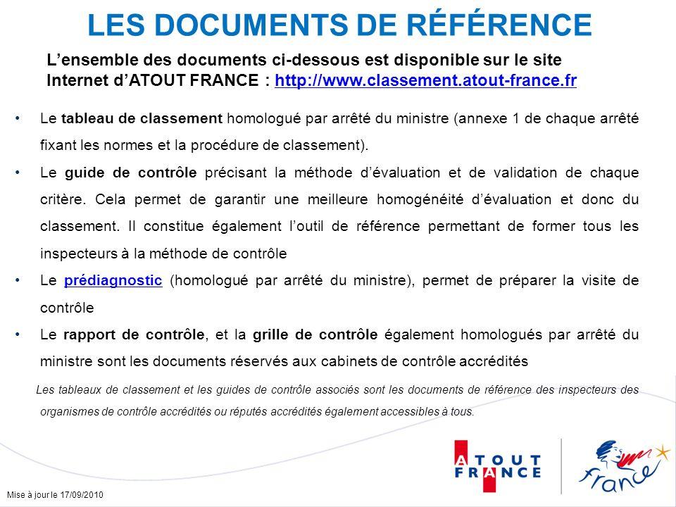 Mise à jour le 17/09/2010 LES DOCUMENTS DE RÉFÉRENCE Le tableau de classement homologué par arrêté du ministre (annexe 1 de chaque arrêté fixant les normes et la procédure de classement).