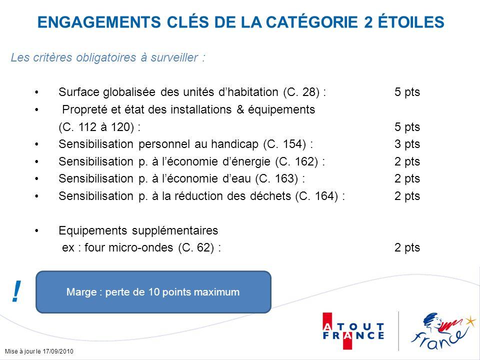 Mise à jour le 17/09/2010 ENGAGEMENTS CLÉS DE LA CATÉGORIE 2 ÉTOILES Les critères obligatoires à surveiller : Surface globalisée des unités dhabitation (C.
