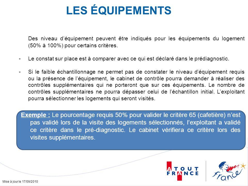 Mise à jour le 17/09/2010 Des niveau déquipement peuvent être indiqués pour les équipements du logement (50% à 100%) pour certains critères.