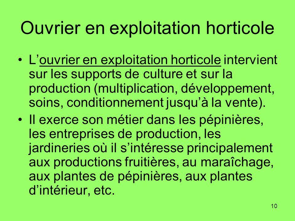 10 Ouvrier en exploitation horticole Louvrier en exploitation horticole intervient sur les supports de culture et sur la production (multiplication, d