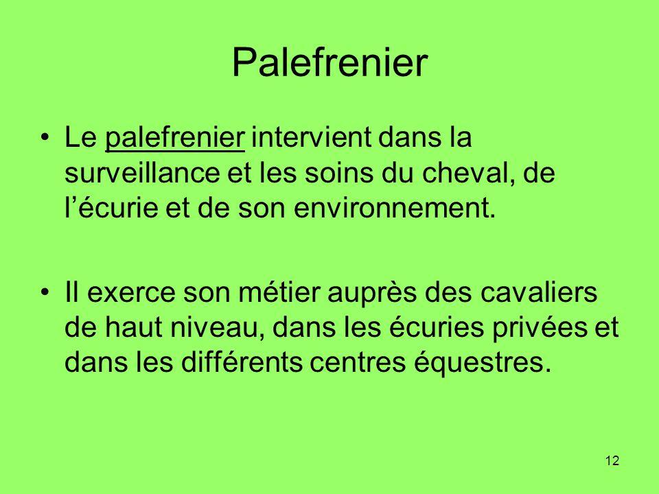 12 Palefrenier Le palefrenier intervient dans la surveillance et les soins du cheval, de lécurie et de son environnement. Il exerce son métier auprès