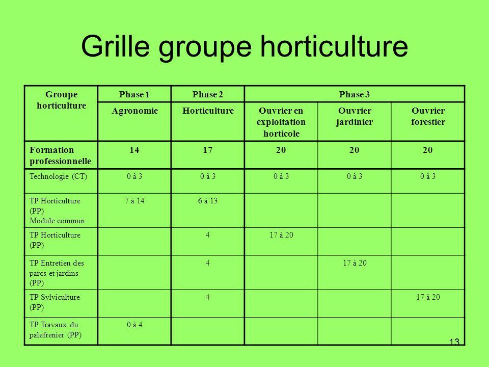 13 Grille groupe horticulture Groupe horticulture Phase 1Phase 2Phase 3 AgronomieHorticultureOuvrier en exploitation horticole Ouvrier jardinier Ouvri