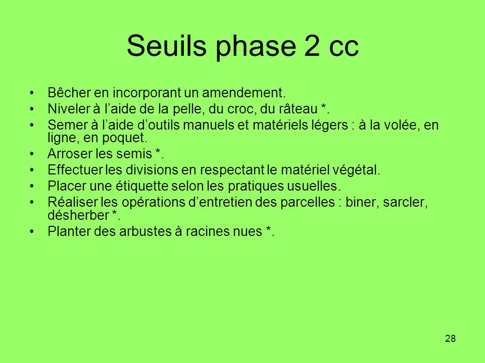 28 Seuils phase 2 cc Bêcher en incorporant un amendement. Niveler à laide de la pelle, du croc, du râteau *. Semer à laide doutils manuels et matériel