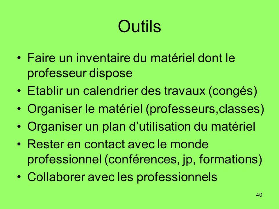 40 Outils Faire un inventaire du matériel dont le professeur dispose Etablir un calendrier des travaux (congés) Organiser le matériel (professeurs,cla
