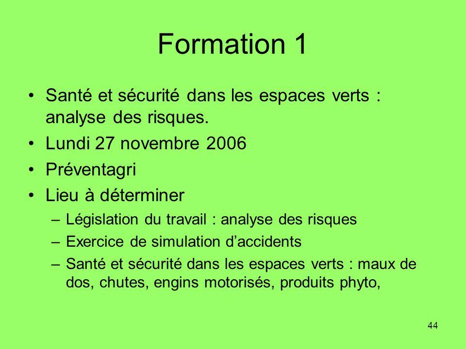 44 Formation 1 Santé et sécurité dans les espaces verts : analyse des risques. Lundi 27 novembre 2006 Préventagri Lieu à déterminer –Législation du tr