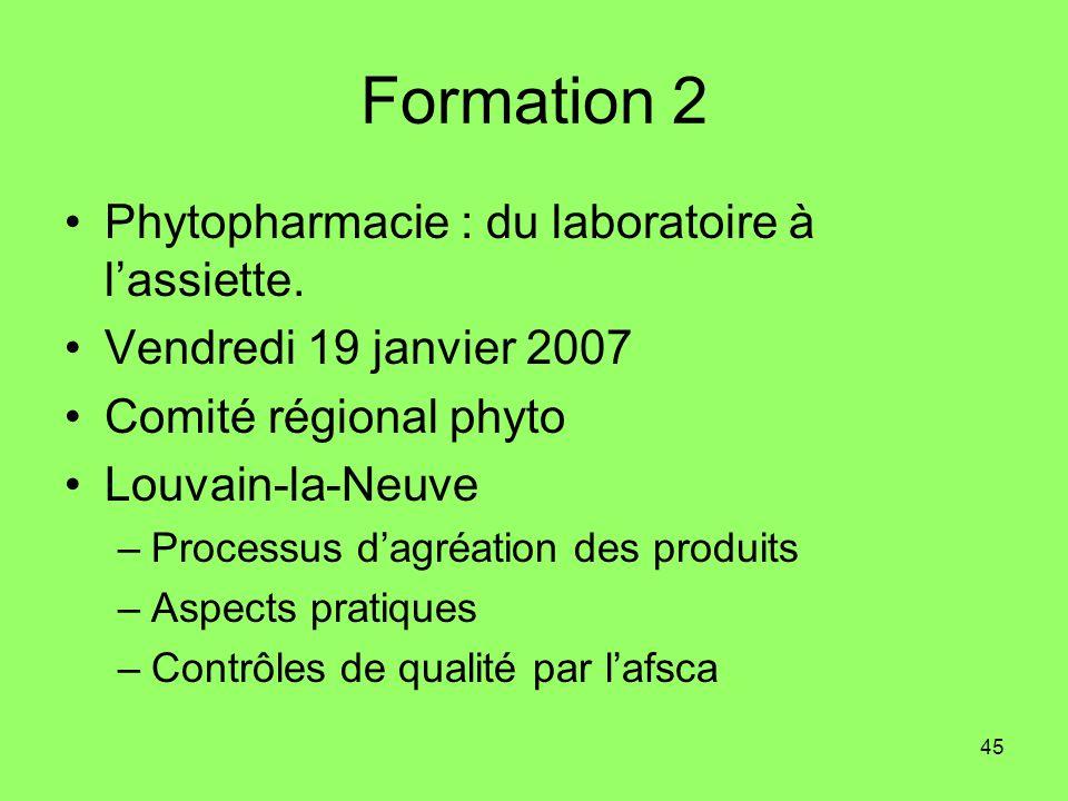 45 Formation 2 Phytopharmacie : du laboratoire à lassiette. Vendredi 19 janvier 2007 Comité régional phyto Louvain-la-Neuve –Processus dagréation des