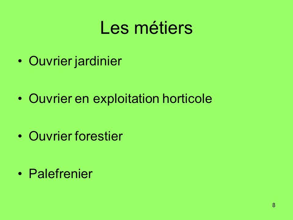 9 Ouvrier jardinier Louvrier jardinier intervient sur les supports de culture et sur la mise en place et lentretien des végétaux.
