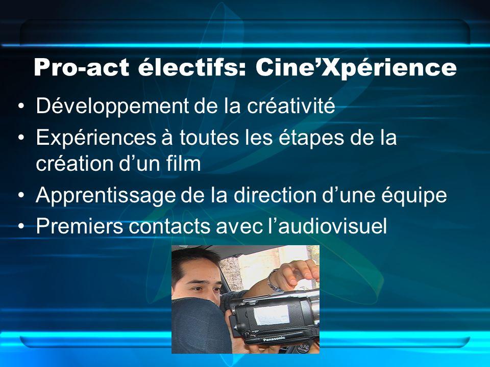 Pro-act électifs: CineXpérience Développement de la créativité Expériences à toutes les étapes de la création dun film Apprentissage de la direction dune équipe Premiers contacts avec laudiovisuel