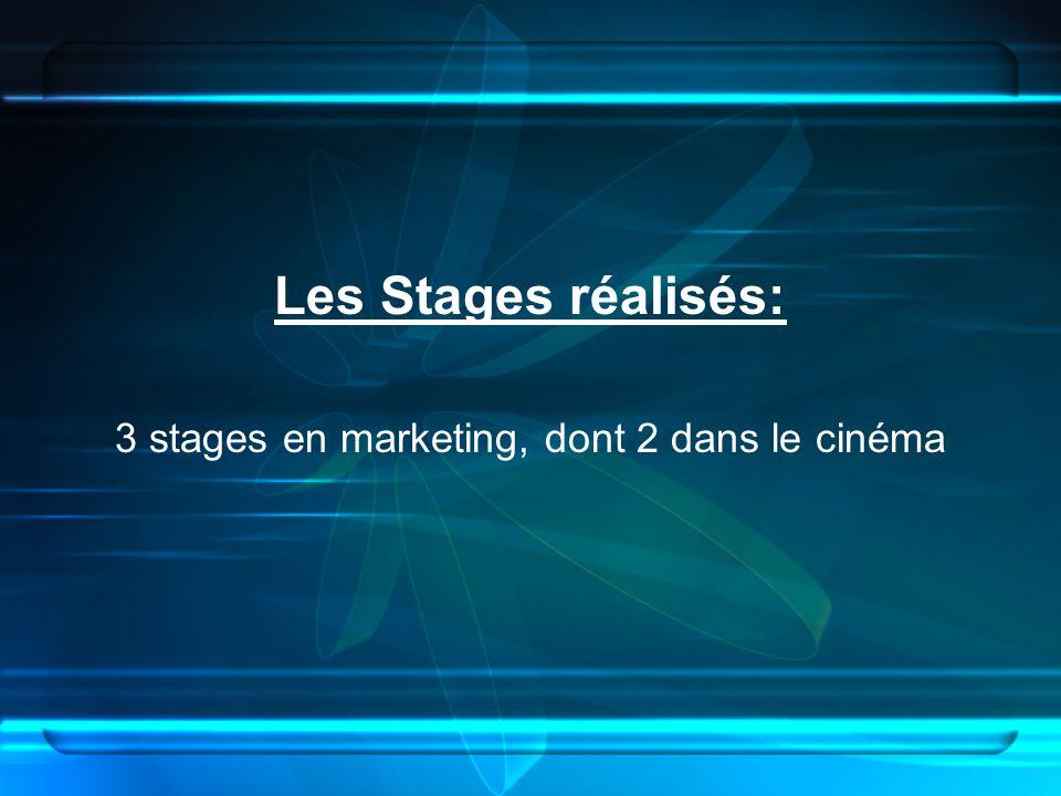 Les Stages réalisés: 3 stages en marketing, dont 2 dans le cinéma