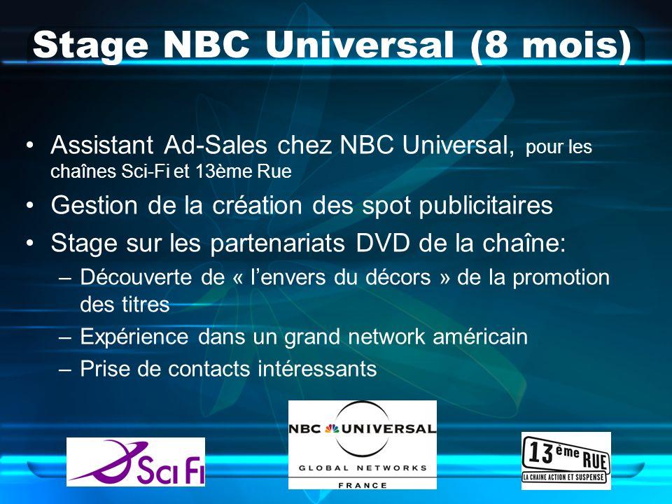 Stage NBC Universal (8 mois) Assistant Ad-Sales chez NBC Universal, pour les chaînes Sci-Fi et 13ème Rue Gestion de la création des spot publicitaires Stage sur les partenariats DVD de la chaîne: –Découverte de « lenvers du décors » de la promotion des titres –Expérience dans un grand network américain –Prise de contacts intéressants