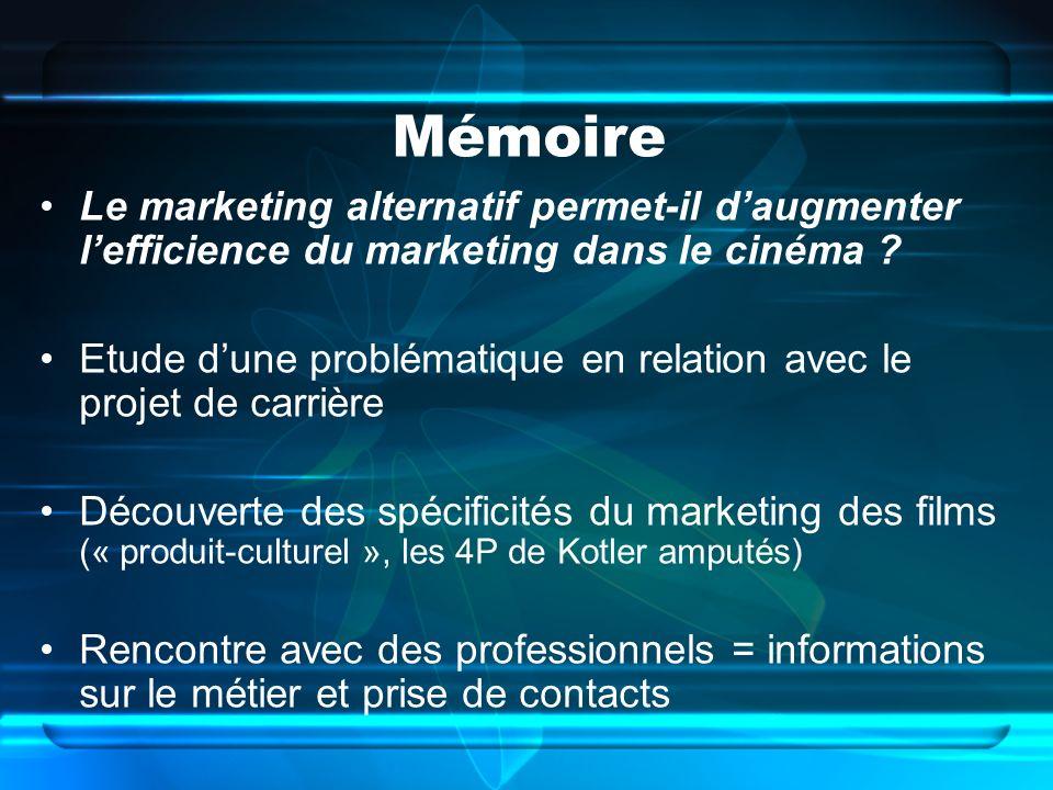 Mémoire Le marketing alternatif permet-il daugmenter lefficience du marketing dans le cinéma ? Etude dune problématique en relation avec le projet de
