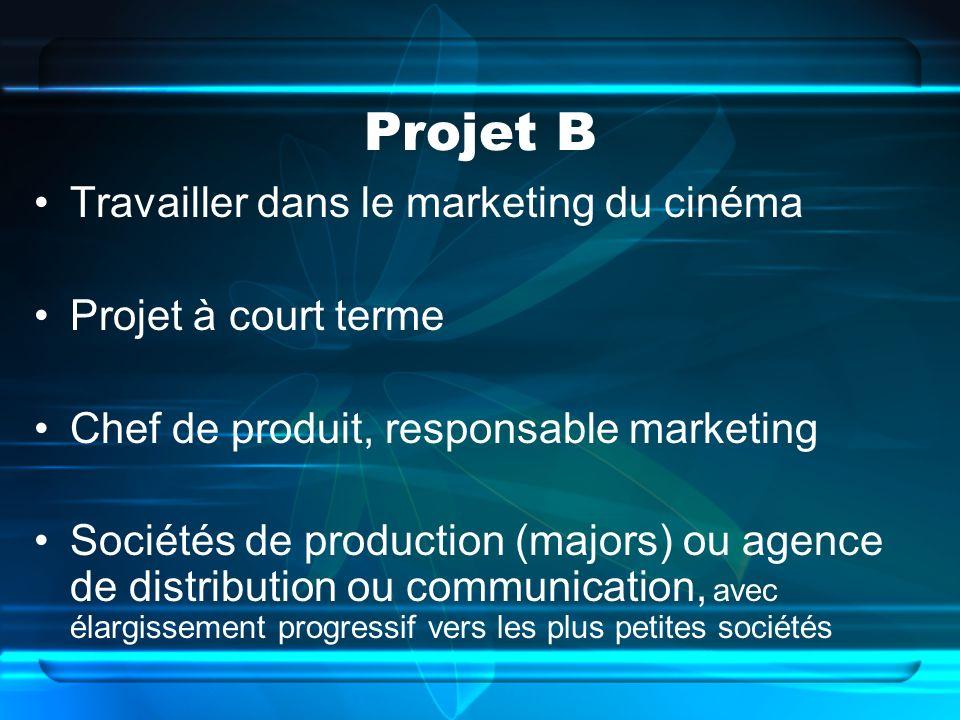 Projet B Travailler dans le marketing du cinéma Projet à court terme Chef de produit, responsable marketing Sociétés de production (majors) ou agence de distribution ou communication, avec élargissement progressif vers les plus petites sociétés