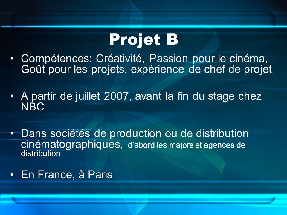 Projet B Compétences: Créativité, Passion pour le cinéma, Goût pour les projets, expérience de chef de projet A partir de juillet 2007, avant la fin du stage chez NBC Dans sociétés de production ou de distribution cinématographiques, dabord les majors et agences de distribution En France, à Paris