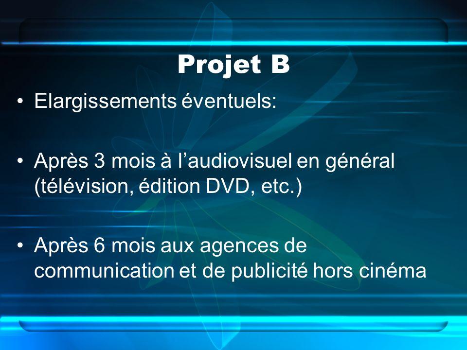 Projet B Elargissements éventuels: Après 3 mois à laudiovisuel en général (télévision, édition DVD, etc.) Après 6 mois aux agences de communication et de publicité hors cinéma