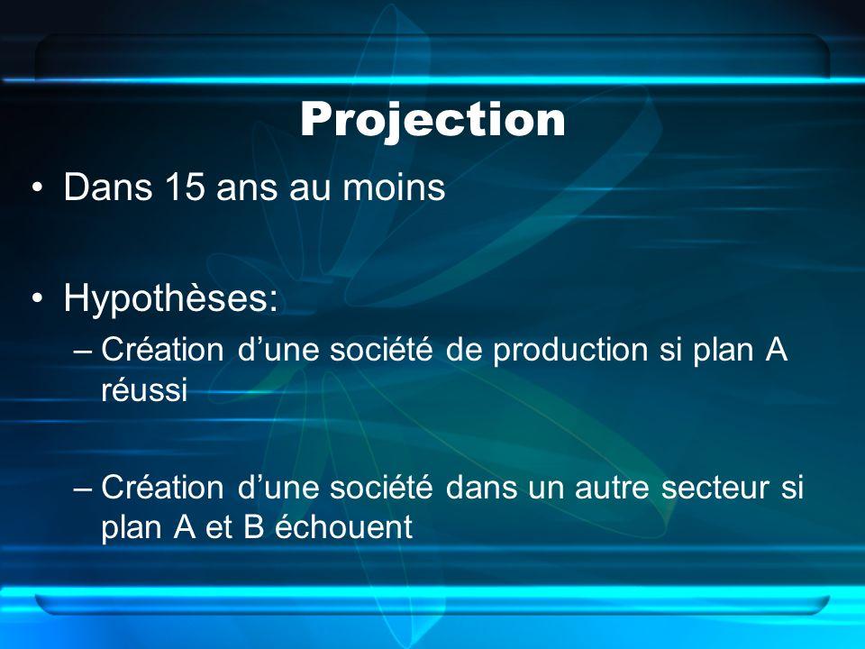 Projection Dans 15 ans au moins Hypothèses: –Création dune société de production si plan A réussi –Création dune société dans un autre secteur si plan A et B échouent