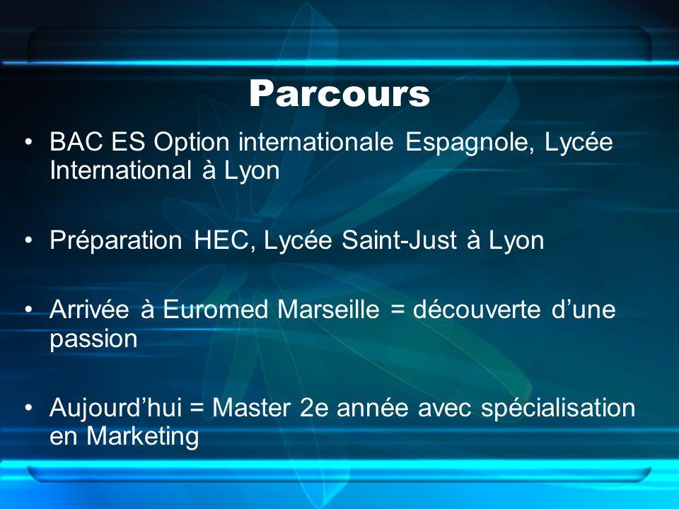 Parcours BAC ES Option internationale Espagnole, Lycée International à Lyon Préparation HEC, Lycée Saint-Just à Lyon Arrivée à Euromed Marseille = déc