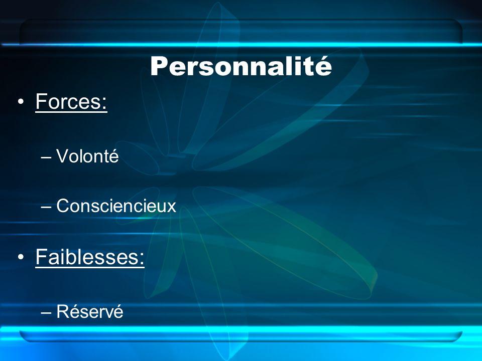 Personnalité Forces: –Volonté –Consciencieux Faiblesses: –Réservé