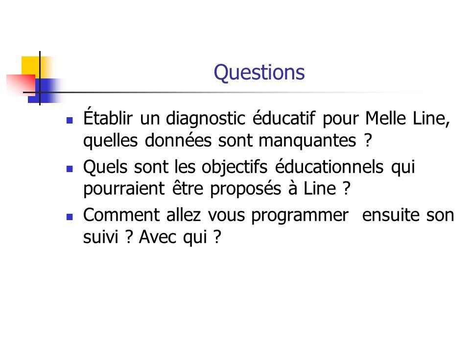 Questions Établir un diagnostic éducatif pour Melle Line, quelles données sont manquantes ? Quels sont les objectifs éducationnels qui pourraient être