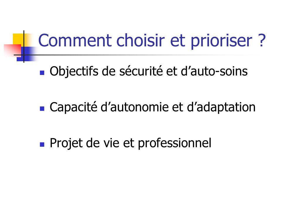 Comment choisir et prioriser ? Objectifs de sécurité et dauto-soins Capacité dautonomie et dadaptation Projet de vie et professionnel