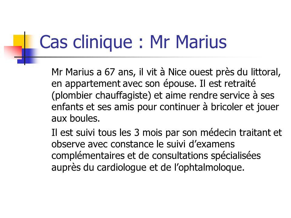 Cas clinique : Mr Marius Mr Marius a 67 ans, il vit à Nice ouest près du littoral, en appartement avec son épouse. Il est retraité (plombier chauffagi