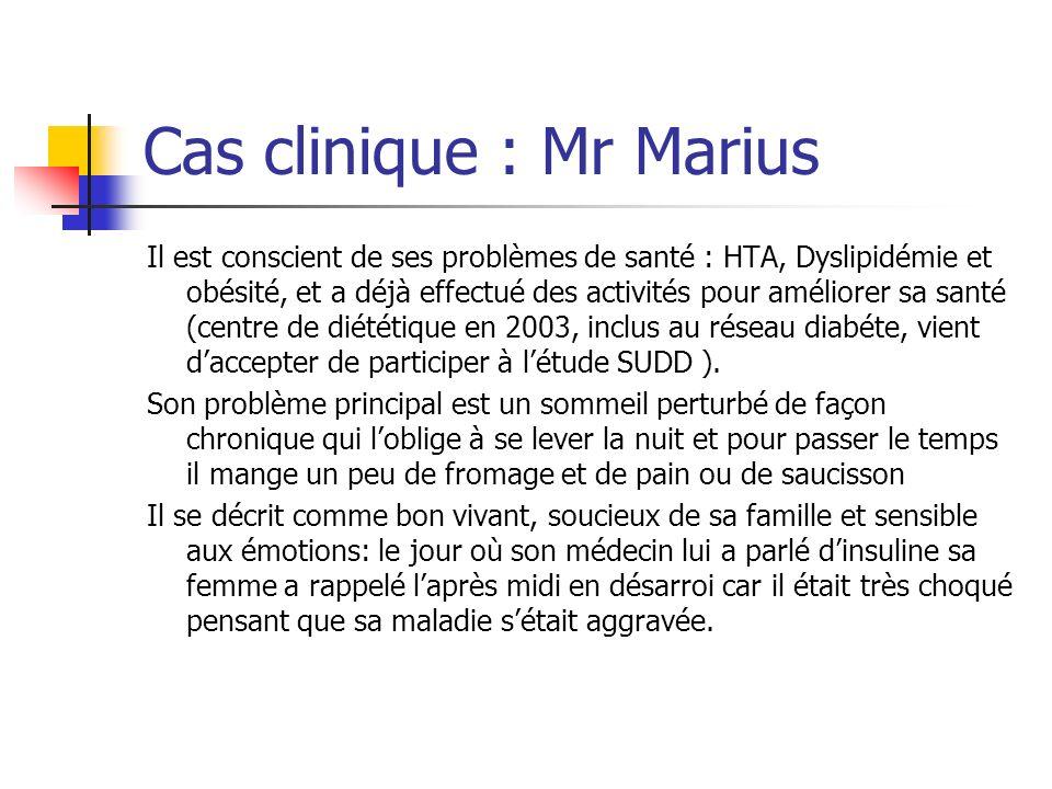 Cas clinique : Mr Marius Il est conscient de ses problèmes de santé : HTA, Dyslipidémie et obésité, et a déjà effectué des activités pour améliorer sa