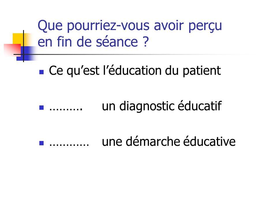 Que pourriez-vous avoir perçu en fin de séance ? Ce quest léducation du patient ………. un diagnostic éducatif ………… une démarche éducative