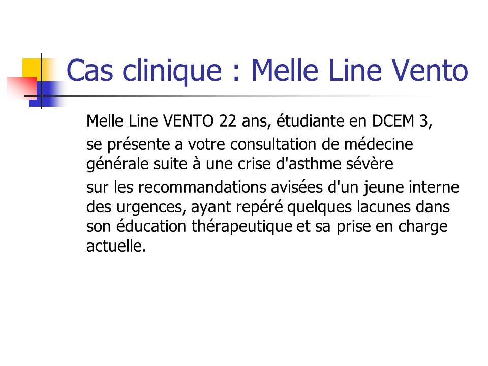 Cas clinique : Melle Line Vento Melle Line VENTO 22 ans, étudiante en DCEM 3, se présente a votre consultation de médecine générale suite à une crise