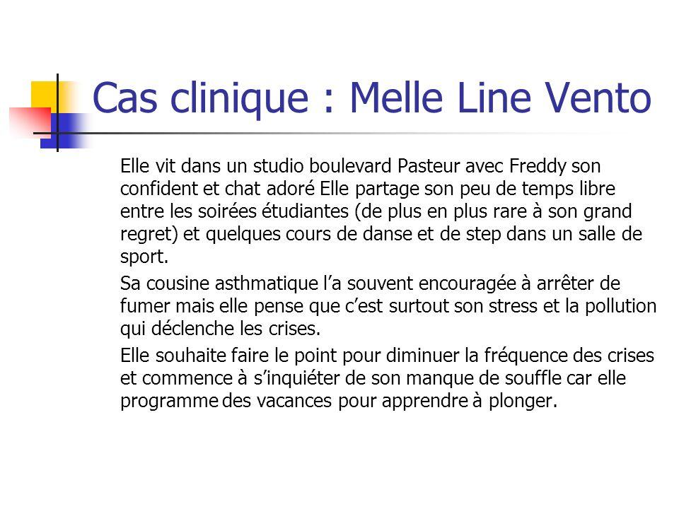 Cas clinique : Melle Line Vento Elle vit dans un studio boulevard Pasteur avec Freddy son confident et chat adoré Elle partage son peu de temps libre