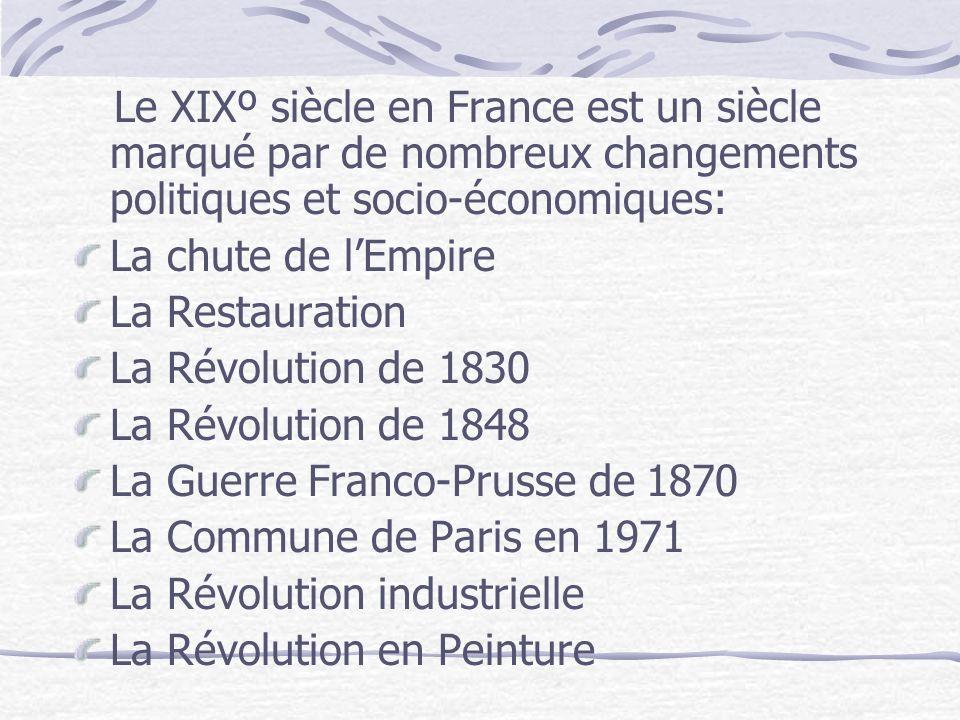 Le XIXº siècle en France est un siècle marqué par de nombreux changements politiques et socio-économiques: La chute de lEmpire La Restauration La Révo